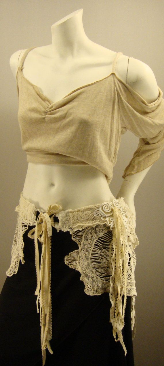 Search Grandmas linen closet. Make a lacey belt, skirt, bustle thingy for Burning Man.