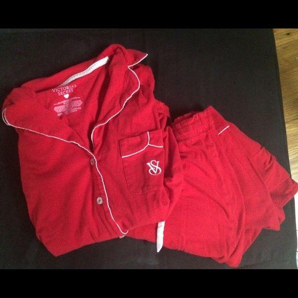 Red cotton Victoria's Secret pajamas. Comfy & cute Red cotton two-piece Victoria's Secret pajama set.  Great condition. Victoria's Secret Intimates & Sleepwear Pajamas