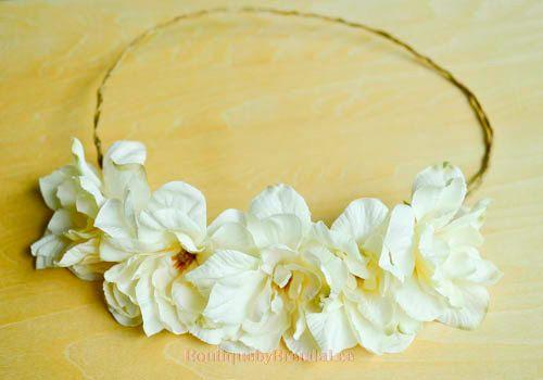 Cream white Delphinium Flower head wreath by BoutiquebyBrendaLee, $39.00