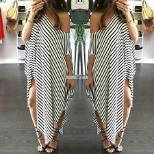 Women Asymmetric Hem Party Evening Cocktail Casual Striped Dress Long Maxi Dress
