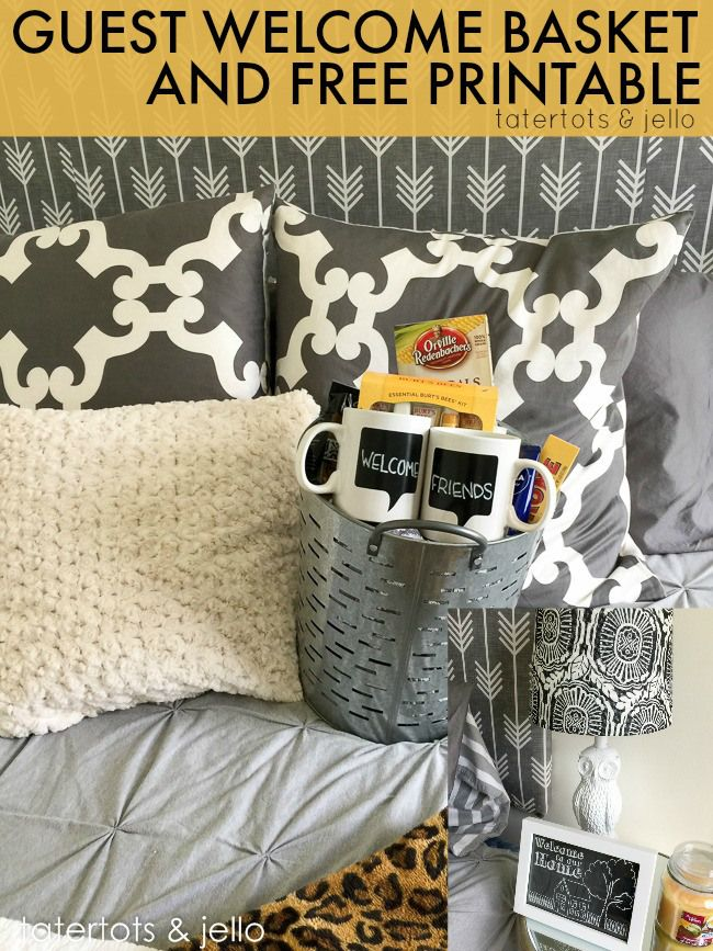Guest Room Welcome Basket Gift Idea & Free Printable!! -- Tatertotsandjello.com