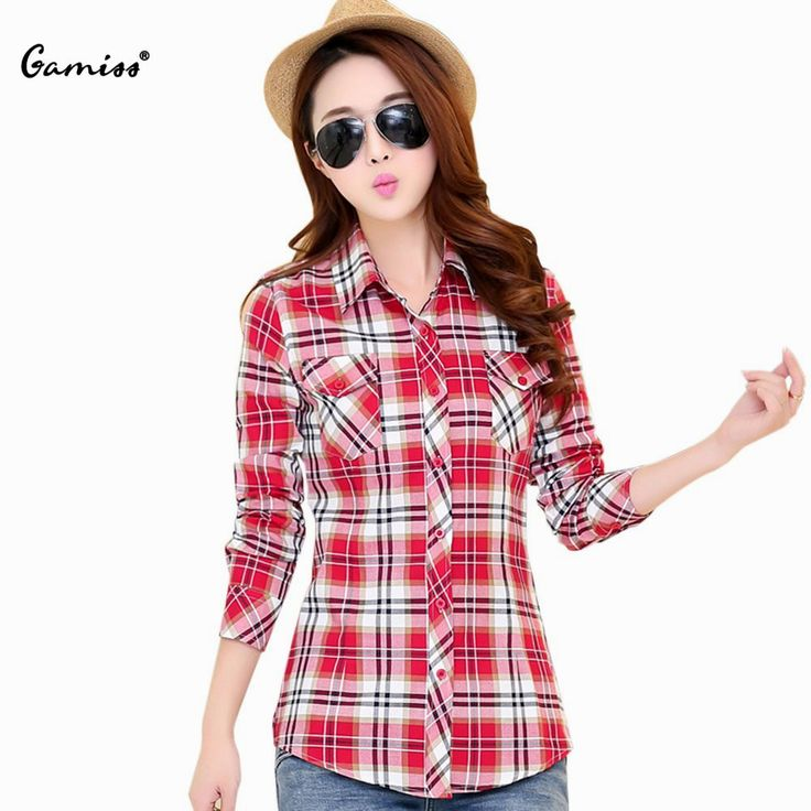 Hot Women Blend Cotton Shirt and Blouses Long Sleeve Shirts Single Breasted Grid Plaid Casual Shirt Female Plus Size Blouse