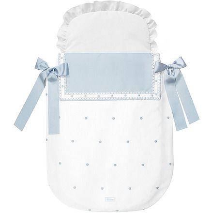 Juego Textil de 2 Piezas Uzturre para Capazo: Saco con Colcha Lazos Grosgrain azul celeste