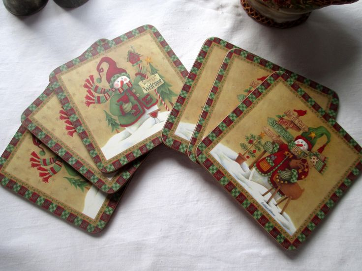 Diane Arthurs Christmas Coaster - Set of 6, Diane Arthurs, Christmas Coasters, Snowman Coasters, Reindeer Coasters, Red and Green Coasters by MyGrandmothersHouse on Etsy