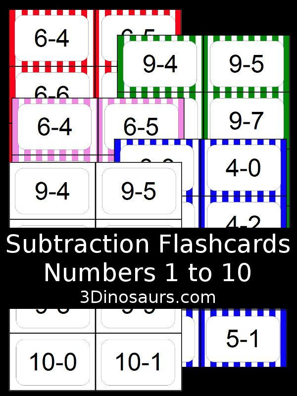free subtraction flash cards 5 colors options numbers 1 to 10 free. Black Bedroom Furniture Sets. Home Design Ideas