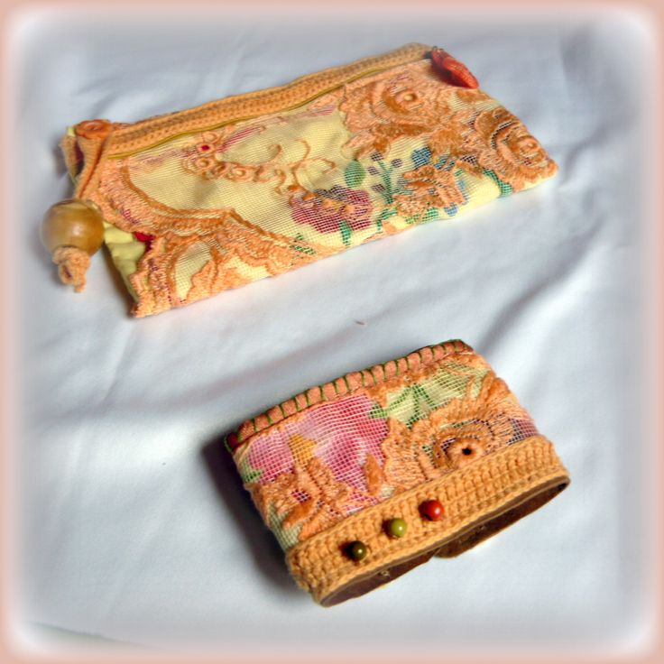 Handmade by Judy Majoros - Vintage crochet pouch and bracelet. Embroidered pouch and bracelet. Recycled pouch and bracelet.