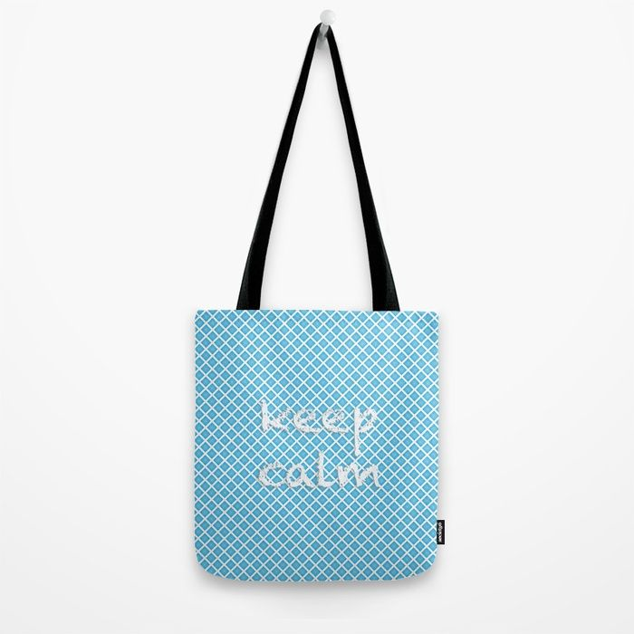 Tote Bag. Abstract design. White grid, sky blue background. Text: «keep calm» digital,pattern, grid, plaid, artwork, mood, «keep calm», cold, blue, white, sky, abstract, society6, gifts, shopping, buy, sell, unique #artwork #abstract #coldcolours #society6 #totebag