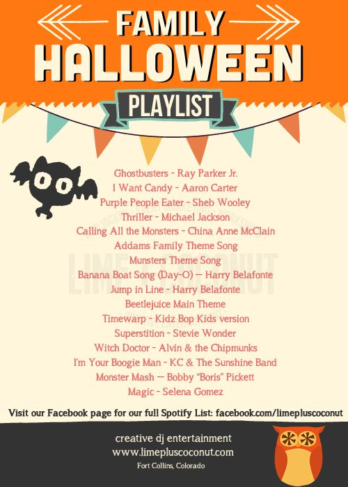 Halloween Playlist for kids parties by lime+coconut creative entertainment (http://www.limepluscoconut.com)