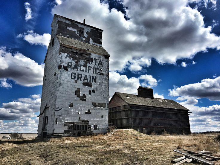 Privately owned, 1 of 6 Alberta Pacific Grain elevators. Near Lousana, AB.