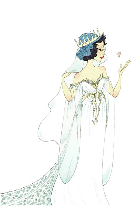 """This dress is based on the rough sketches included in the deleted fantasy sequence for """"Someday My Prince Will Come"""" (which is on the 2-disc edition DVD). I wish they had been able to animate that scene (without the stars with butts, however hilarious I may find them :P). Anywho, the upshot is that I was enchanted with her outfit and wanted to draw it as a wedding dress, so here it is"""