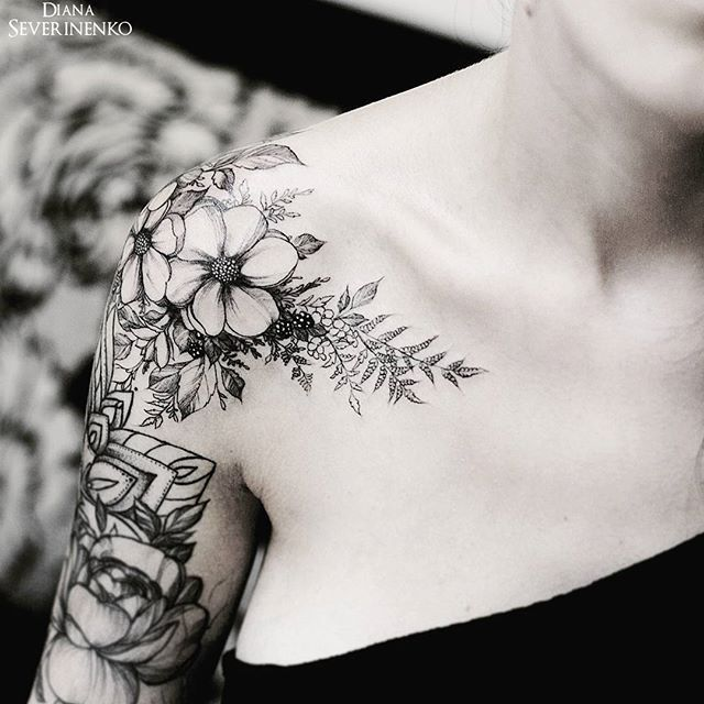 Image result for botanical collar bone tattoo