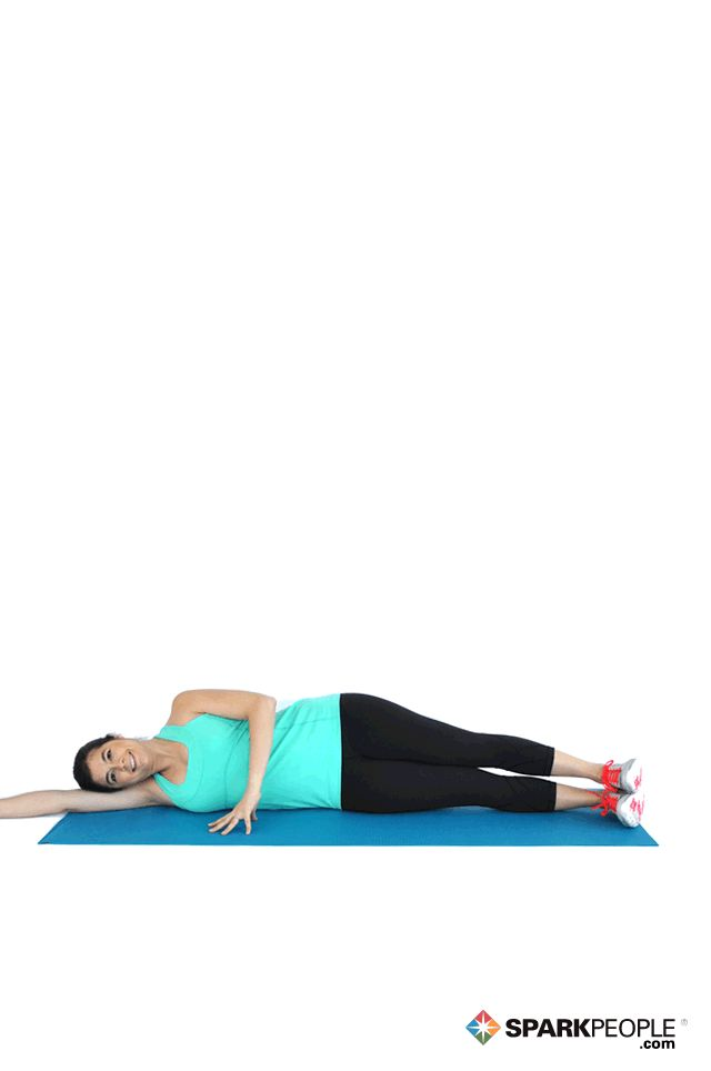 Lying Double Leg Raises Exercise Demonstration via @SparkPeople (also works obliques)