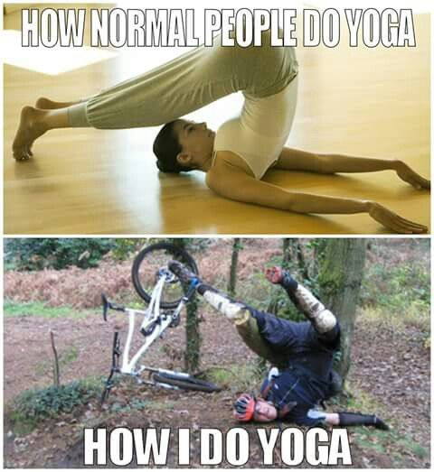 Yoga with a mountain bike
