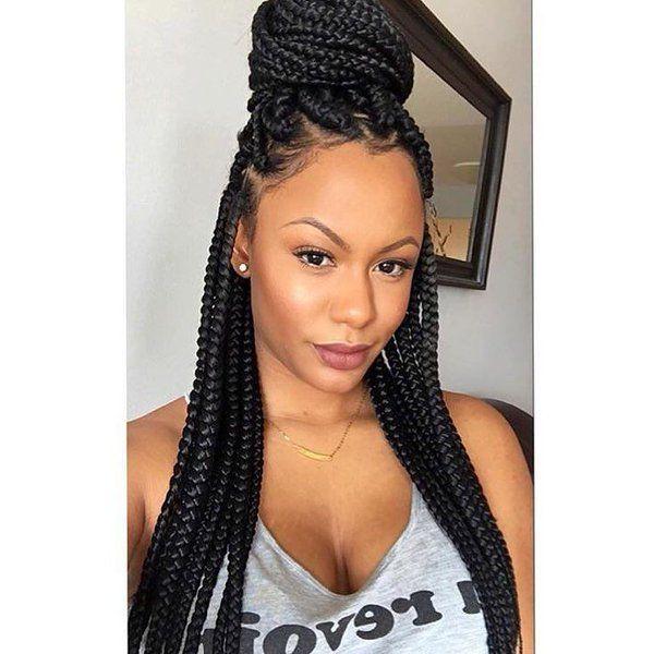 20 Awesome Single Box Braid Styles Box Braids Styling Natural Hair Styles Box Braids Hairstyles