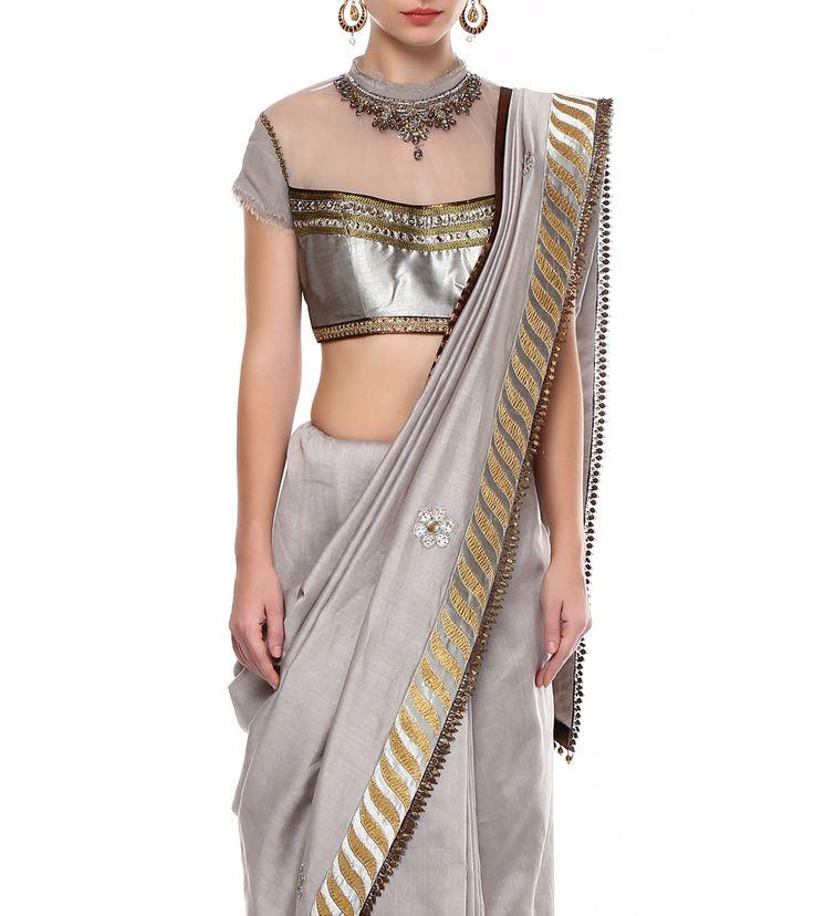 Grey Georgette Embroidered Saree #ethnicwear #designerwear #anarkalis #pastel #suits