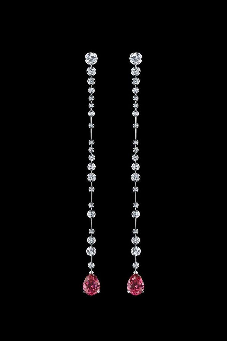 Alexander Arne spinel and diamond earrings in white gold, from the Bubbles collection.