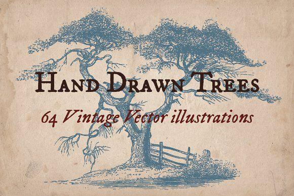 64 Vintage Hand Drawn Trees by Mr Vintage on @creativemarket