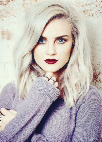 Perrie Edwards bleached blonde white platinum hair...pretty makeup to