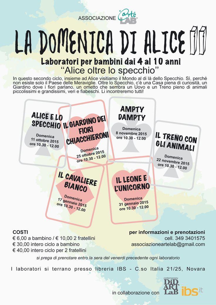 """Dall'11 ottobre a Novara laboratori per bambini """"La domenica di Alice"""" http://isa-voi.blogspot.com/2015/10/dall11-ottobre-laboratori-per-bambini.html"""