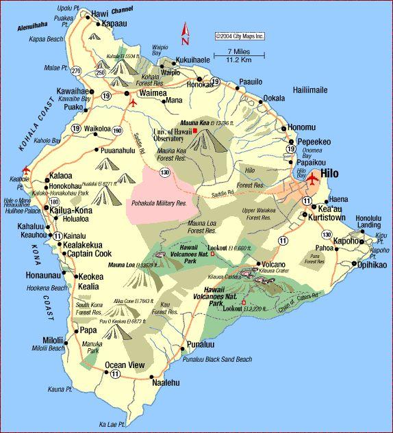 Road Map of Hawaii Island (Hilo, Hawaii) - Aaccessmaps.com