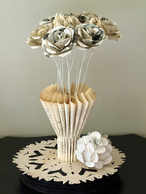 vase out of book pages