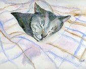 Watercolor Painting Cat Art, Cat Painting, Cat Watercolor, Cat Portrait, Pet Art, Cat Art Print Titled Soft Blanket
