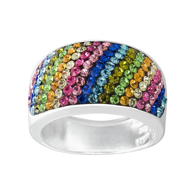 Silver Radiance Crystal Silver-Plated Diagonal Stripe Ring, Women's, multicolor