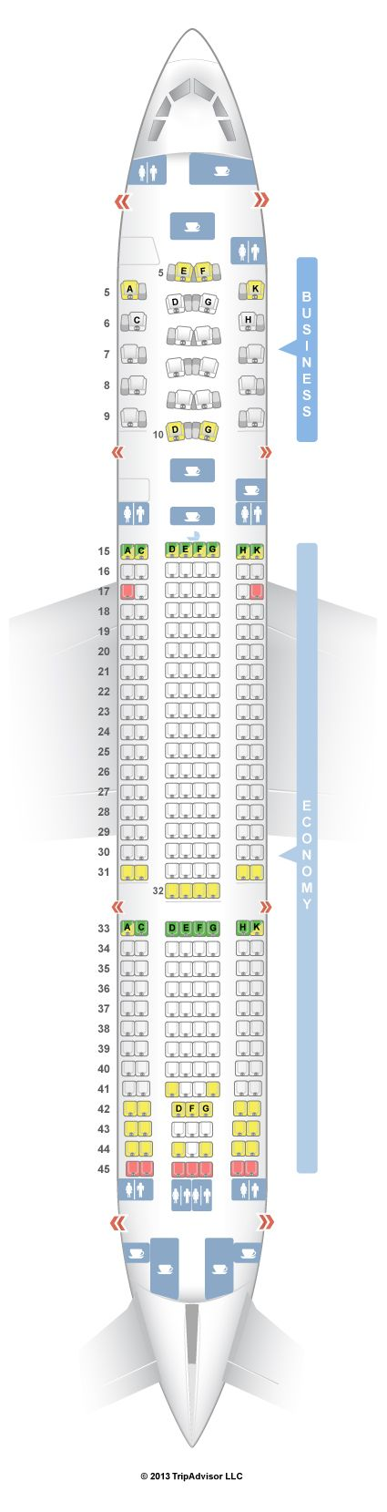 SeatGuru Seat Map Etihad Airbus A330-200 (332) V1 - SeatGuru