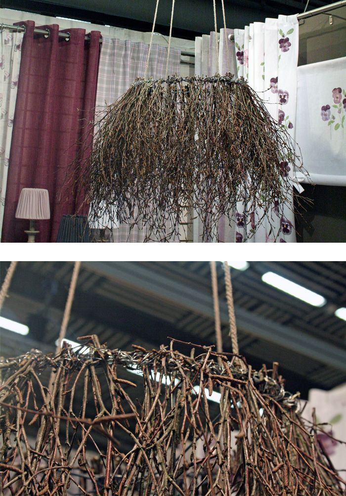 twig decor, I've never seen a light done like this before, love it!