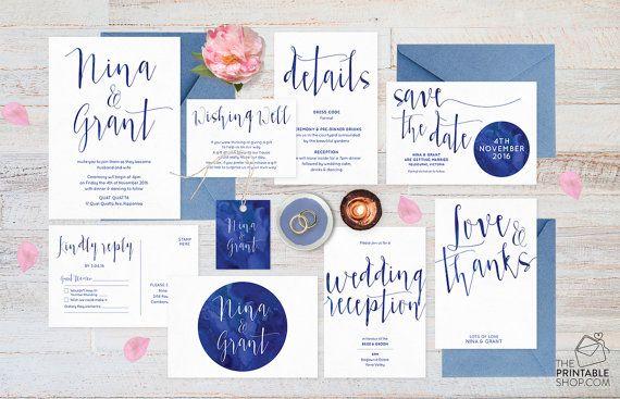 Navy wedding invitation set, Navy wedding invites, Navy blue wedding invitations, Save the date, RSVP postcard, Wedding set, Wedding suite