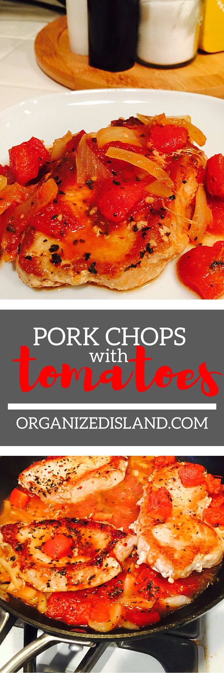 Tender pork chops with tomatoes makes a moist and tender pork chop with a tangy tomato sauce. It all comes together in just one pan too!