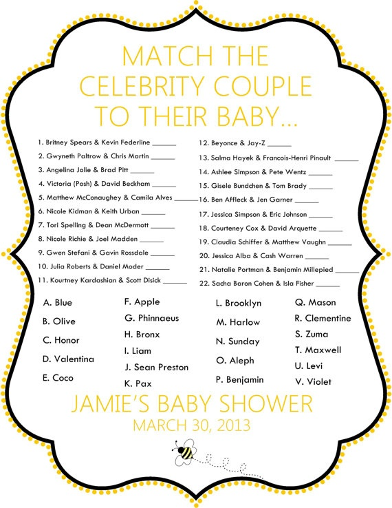 Yellow & Black Bumble Bee Celebrity Baby Shower by PoshPapetiere, $10.00