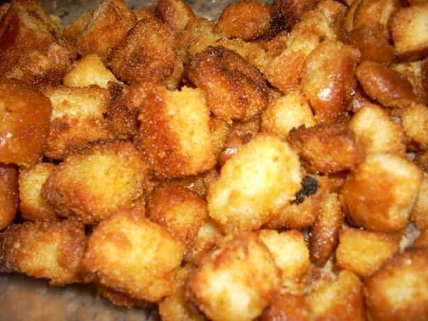 Succulent Homemade Croutons. Very good way to use up old hot dog buns!