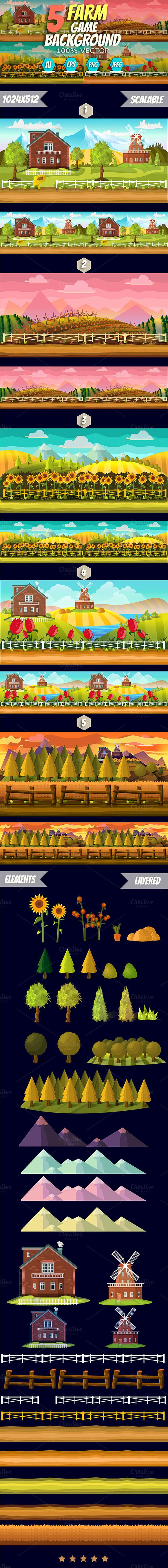 5 Level Farm Game Backgrounds by VitaliyVill on @creativemarket