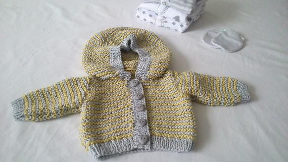 Clothes, Shoes & Accessories Jumpers & Cardigans yellow Hand Knitted Baby Cardigans Newborn