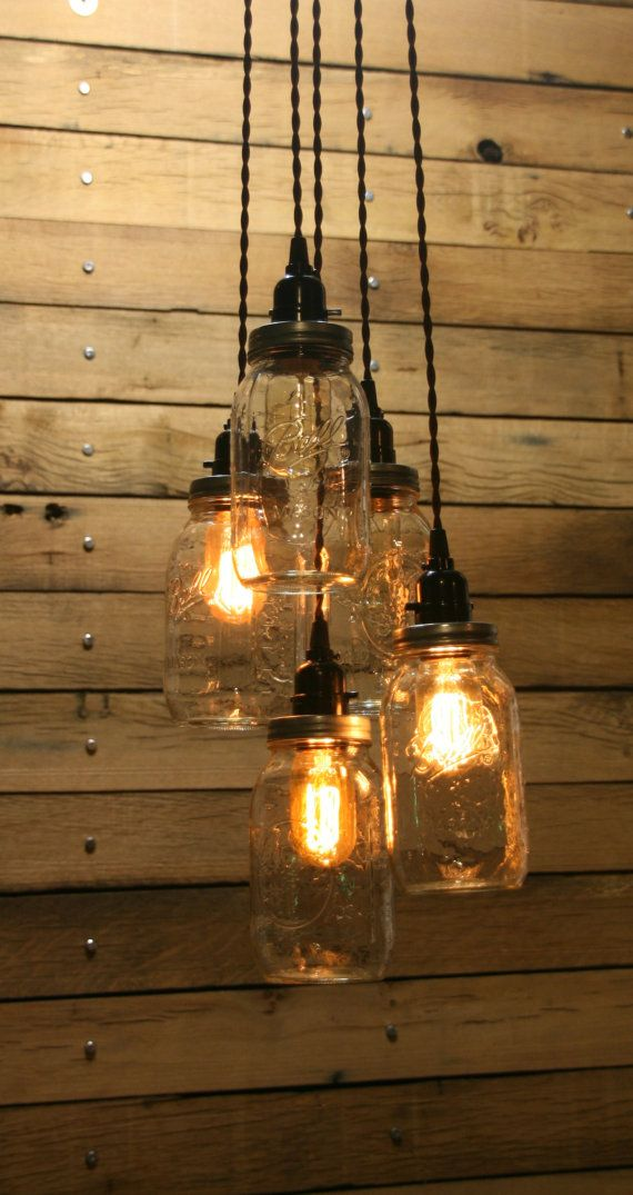 DIY  5 Jar Pendant Light  Mason Jar Chandelier by IndustrialRewind, $154.00