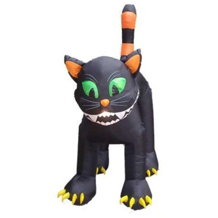 CC Inflatables 11' Inflatable Animated Black Cat Lighted Halloween Yard Art Decoration 30867916