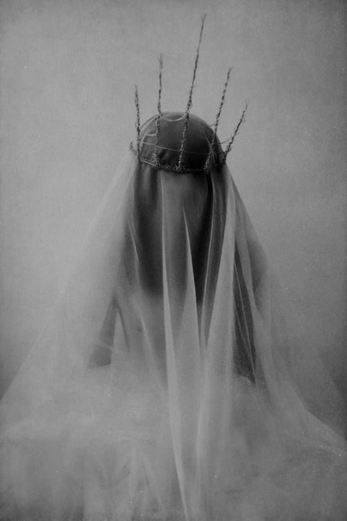 """I saw this illustration and thought """"I could paper mache a little girl's form over framework, add a wig, fluttery veil and creepy crown of thorns. What if I had 3 or 4 of them standing in my front yard to greet trick or treaters?"""""""