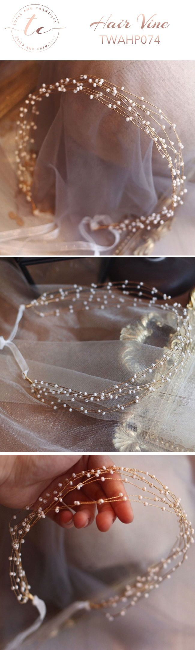 Gold Hair Vine Wedding Pearls TWAHP074