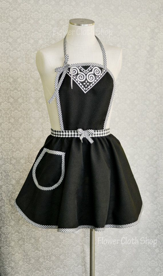 Fancy Apron in Black and White checker Hmong by FlowerClothShop,