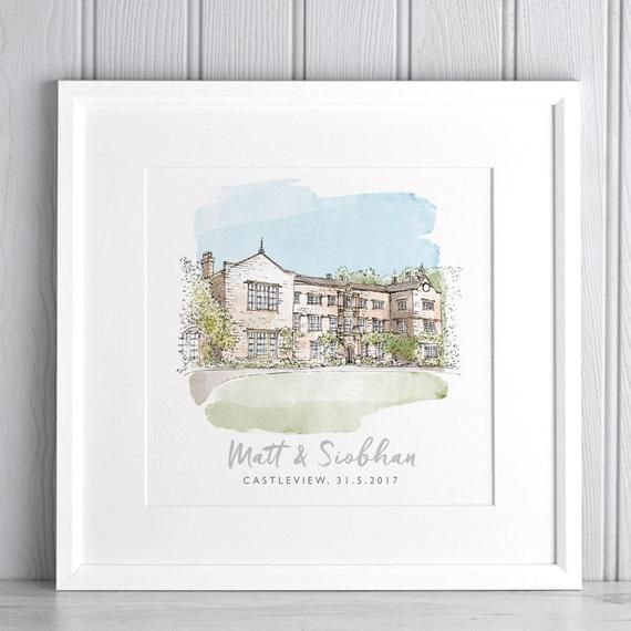 Watercolour Wedding Venue Sketch Personalised Couple Gift Custom