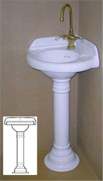 Corner pedestal sinks for small bathrooms corner sink for Small bathroom design corner sink