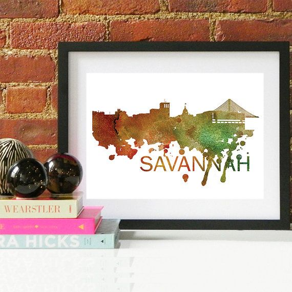 Savannah Art, Savannah Skyline, Savannah map, Savannah skyline, Savannah map print