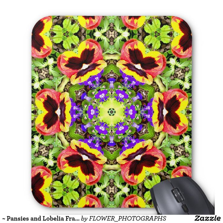 ~ Pansies and Lobelia Fractal ~ Mouse Pad