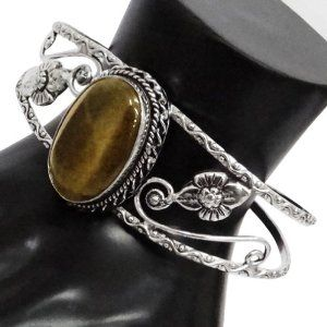 Iba Silver Tone Handcrafted Adjustable Tiger Eye Stone Cuff Bracelet Fashion Bollywood Party Wear Jewelry IBA. $15.99