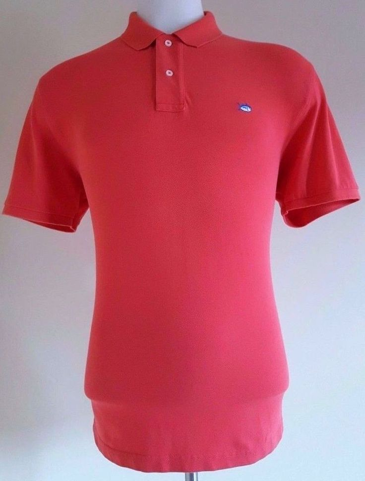 SOUTHERN Tide SKIPJACK Polo LARGE Orange RED Mens SIZE Cotton SPANDEX Shirt Man* #SouthernTide #PoloRugby