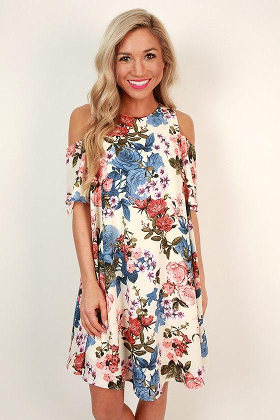 Picnic For Two Cold Shoulder Floral Dress