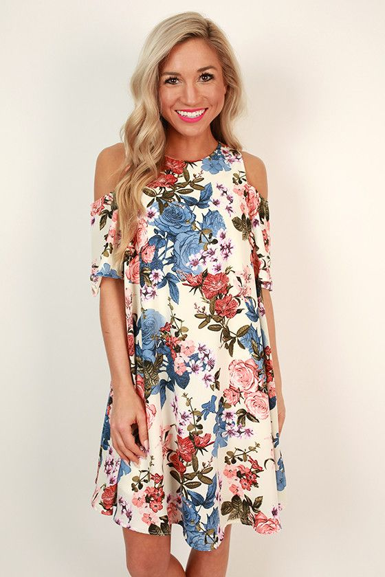8df8d034bd9e Picnic For Two Cold Shoulder Floral Dress | Style | Dresses, Summer dresses,  Cold shoulder