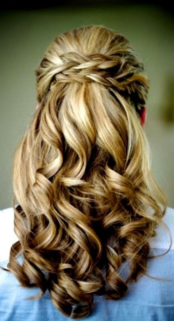 Brides braided half up waterfall wedding hairstyle back view