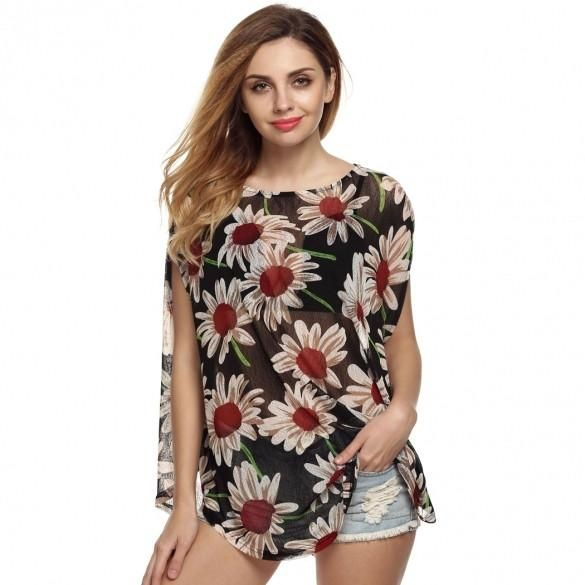 New Fashion Women Casual O-neck Sleeve Batwing Floral Loose T-shirt